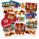 10 x 19g Weihnachts-Minis mit Karte, verschiedene Motive Mix